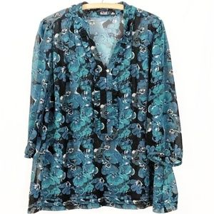 Plus Size A.N.A  3/4 Sleeve Teal Floral Top 2X